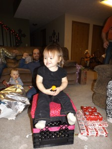 Breckyn sitting on her little seat I made for her...