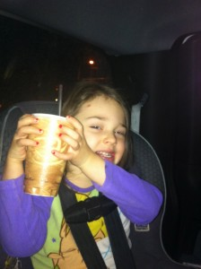 Her first hot chocolate!
