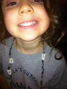 Sawyer got a shell necklace that our neighbors brought her from Hawaii!  She LOVES it!