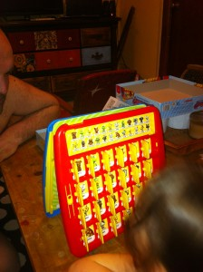 and we played a little Guess Who before bed.