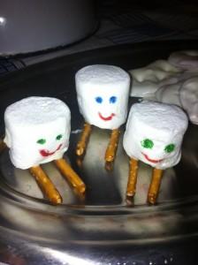 Marshmallow skiers for Sawyer...