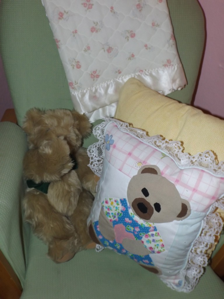 Glider and friends...how cute is that bear pillow I thrifted?!