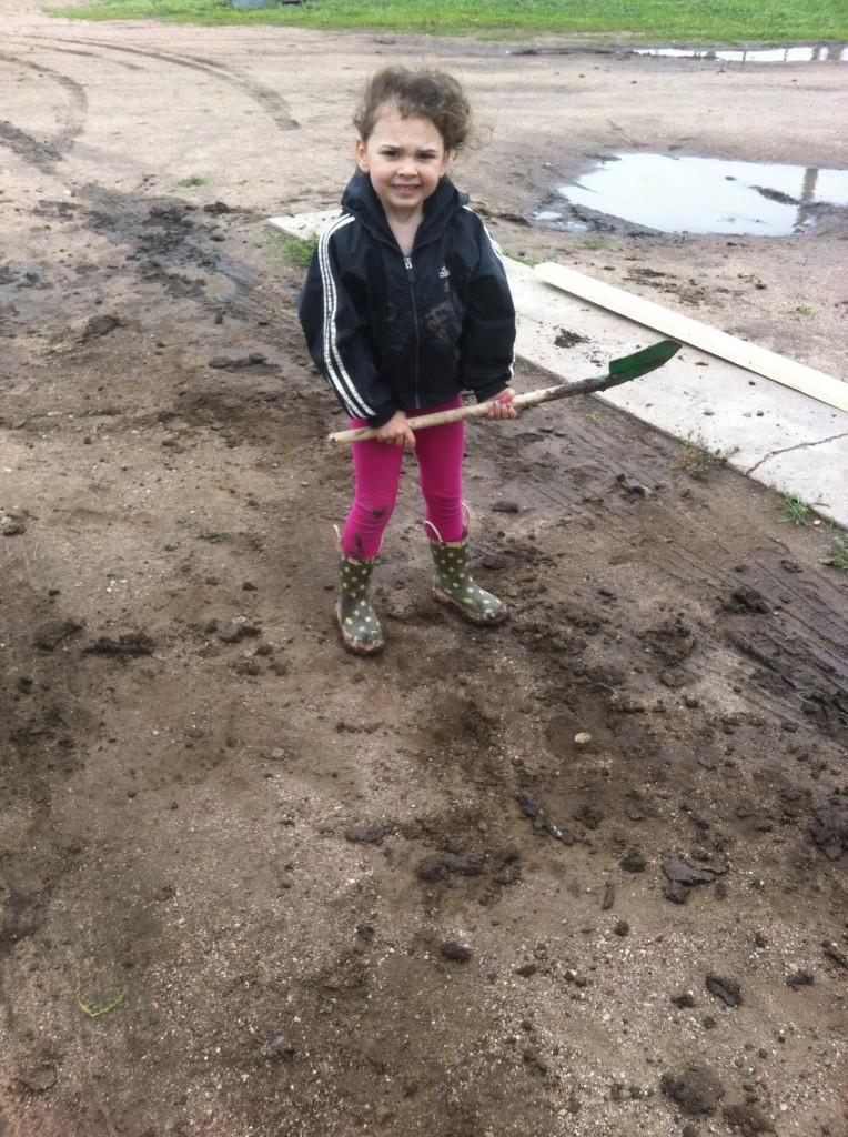 Cute helper with her shovel...