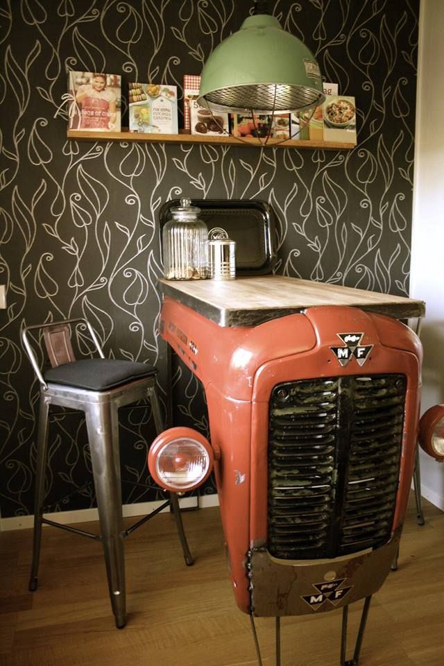Love the tractor table but I REALLY love that wallpaper!