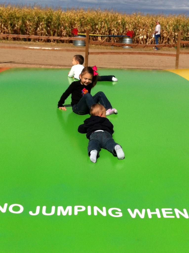 Having fun on the jumping pillow...