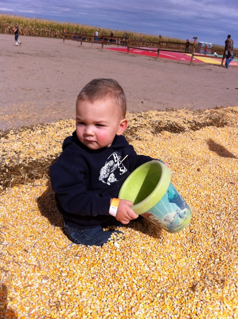 This boy had a diaper full of corn at the end of the day!