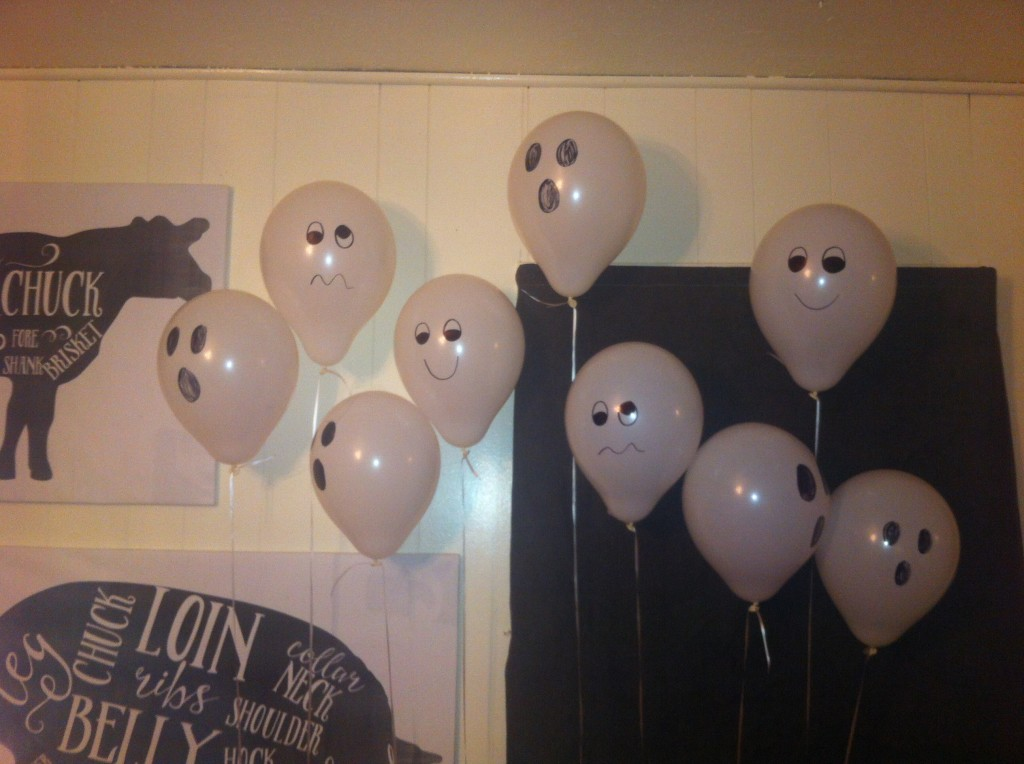 Ghost balloons...that later lost their fill and ended up floating on the table