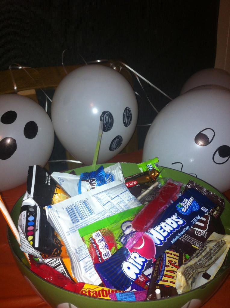 The ghosts are guarding the candy bowl...