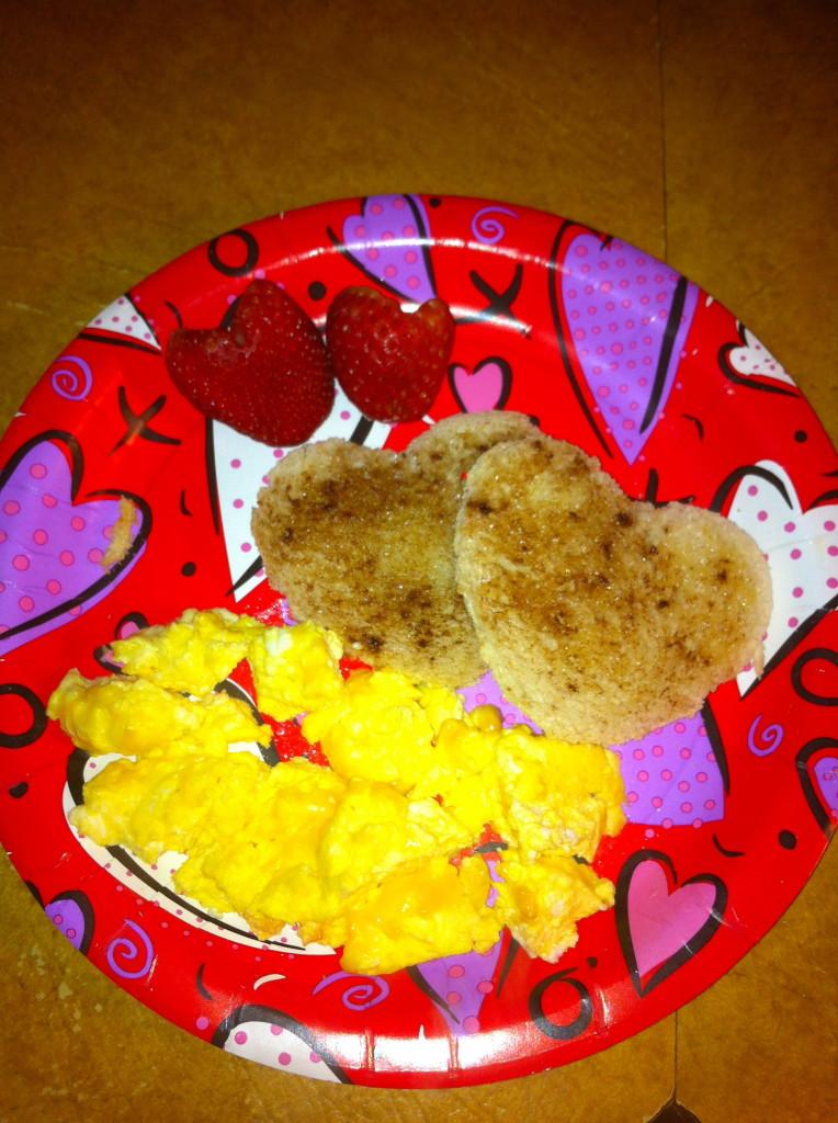 Strawberry hearts, sugar/cinnamon love toast and scrambled eggs!
