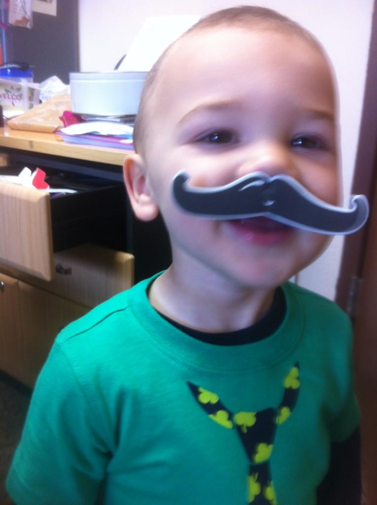 He got a mustache like sister!