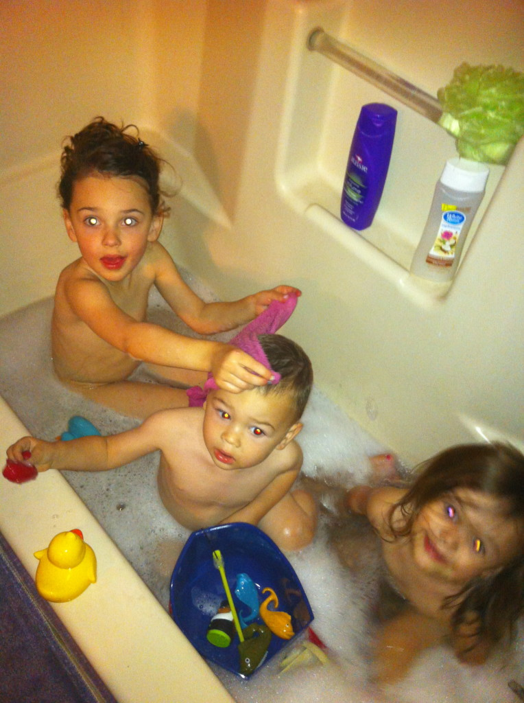 And cousin bath time!