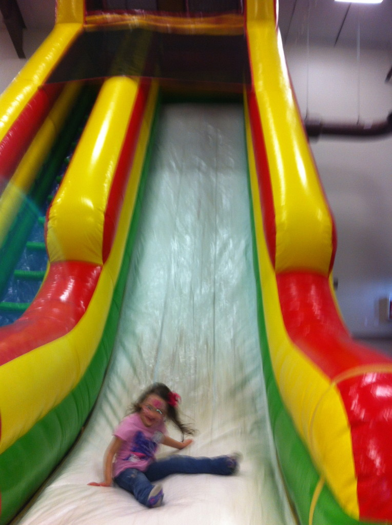 AND, went down this HUGE slide, all by herself!