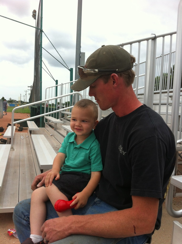 Watchin' a little baseball with Mr. Zach