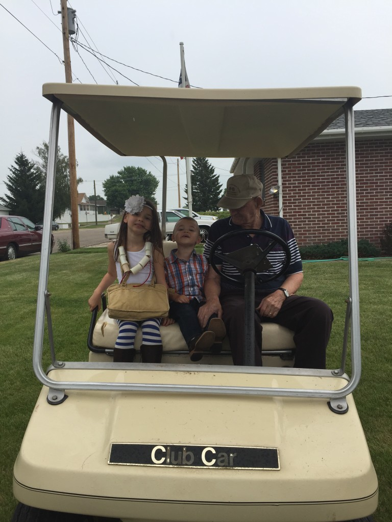 Going for a spin on the golf cart
