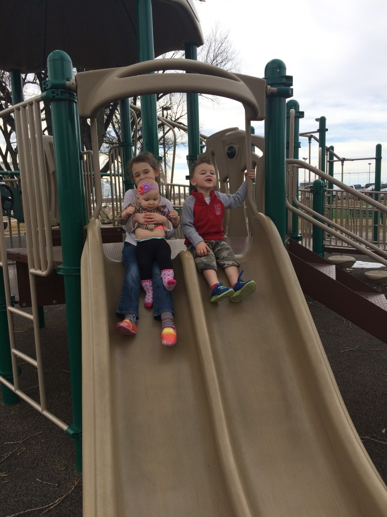 Sayble's first big slide ride