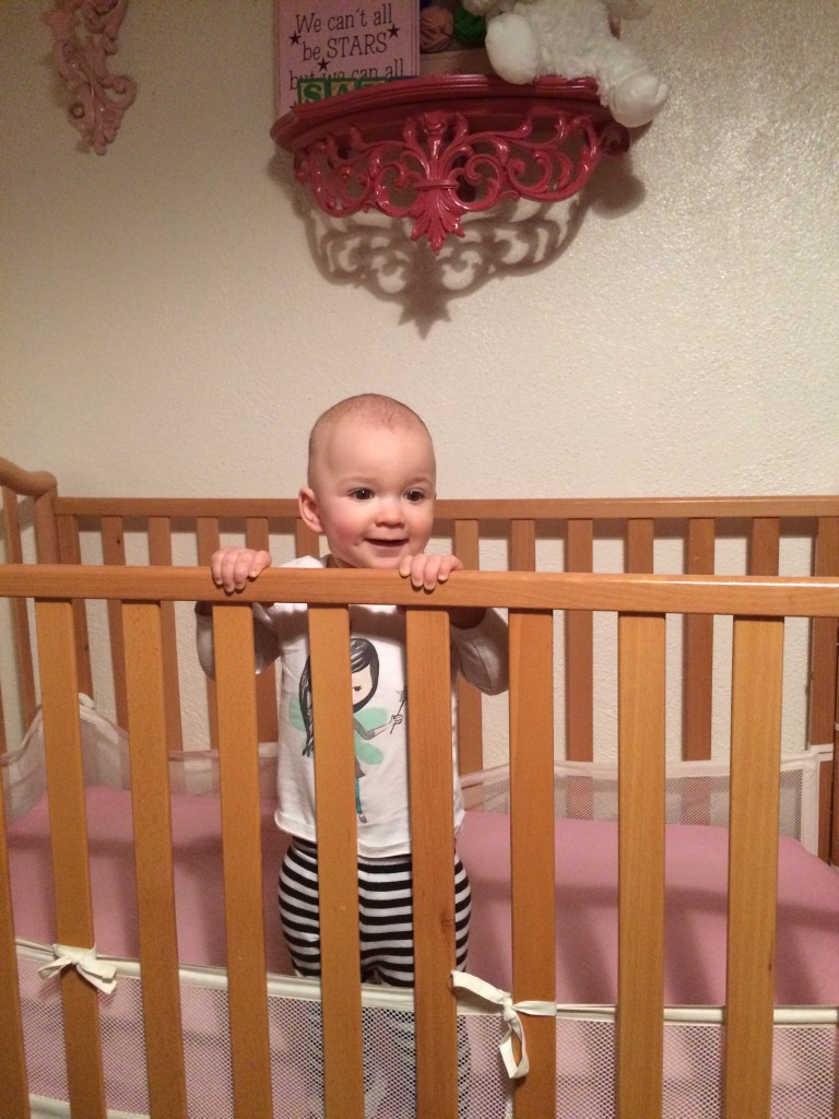 How we found her this morning in her crib