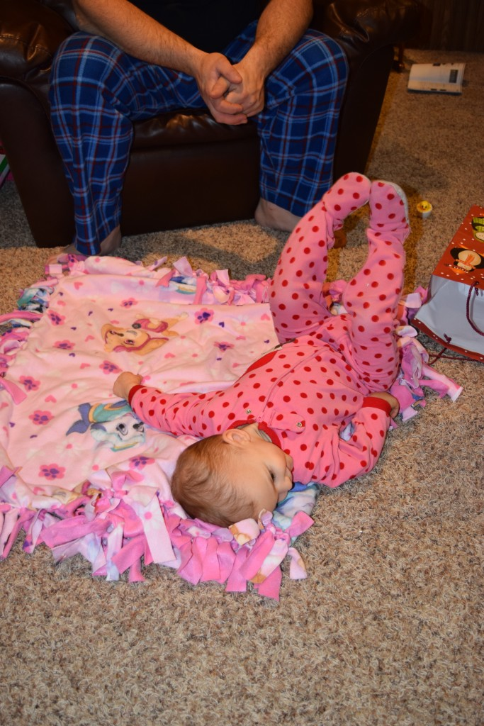 Sayble LOVED the blanket Sawyer made for her...