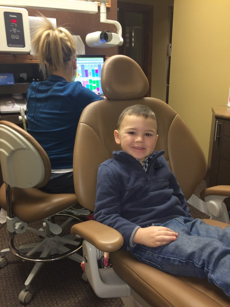 Wryder had his first big boy cleaning and he did SO great!  No cavities!